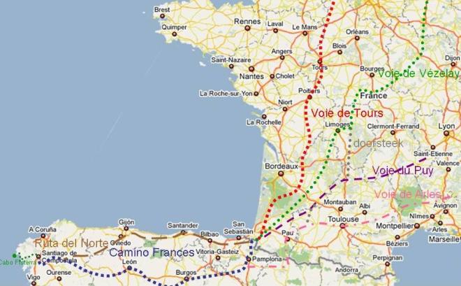 Routes naar Santiago